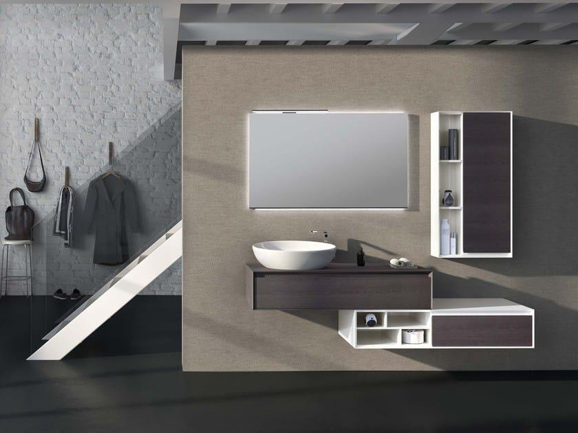 Wall-mounted elm vanity unit LU.32 by Mobiltesino