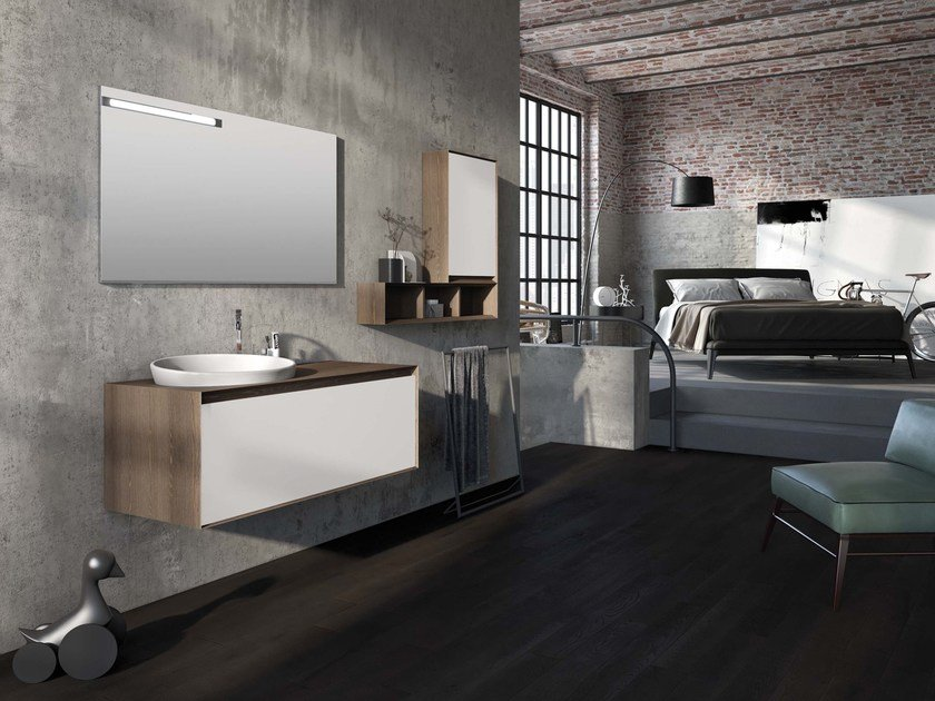 Wall-mounted elm vanity unit LU.33 by Mobiltesino