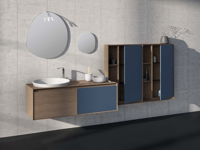 Wall-mounted elm vanity unit LU.34 by Mobiltesino