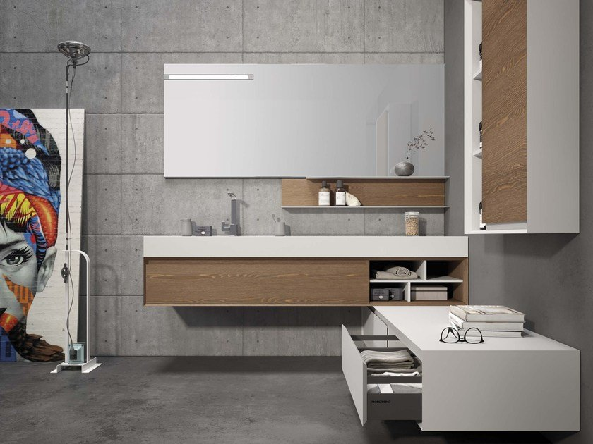 Wall-mounted elm vanity unit LU.38 by Mobiltesino
