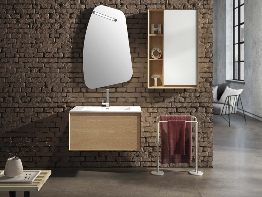 Wall-mounted elm vanity unit LU.39 by Mobiltesino