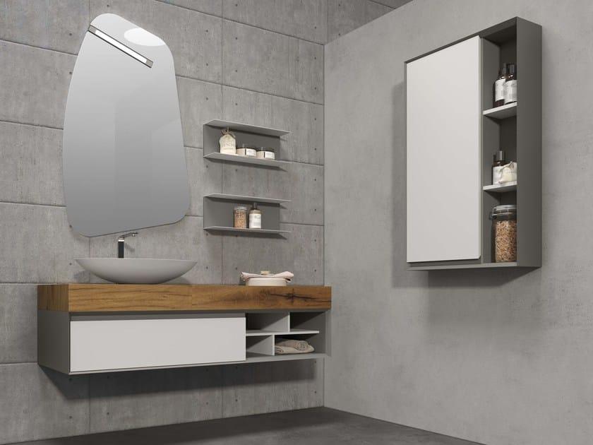 Single wall-mounted vanity unit LU.40 by Mobiltesino