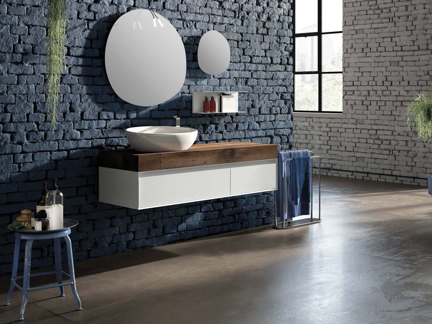 Lacquered wall-mounted vanity unit LU.41 by Mobiltesino