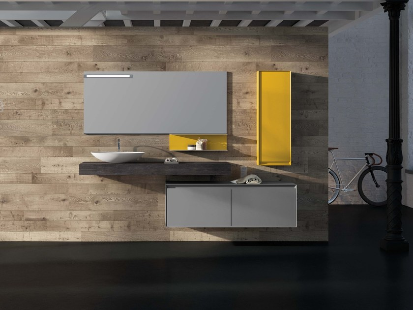 Lacquered wall-mounted vanity unit LU.42 by Mobiltesino