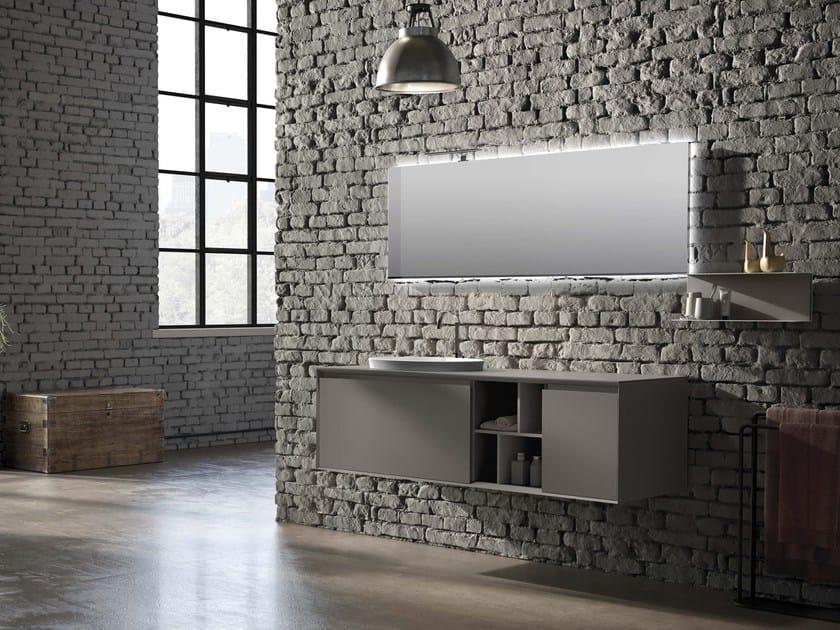 Wall-mounted vanity unit LU.44 by Mobiltesino