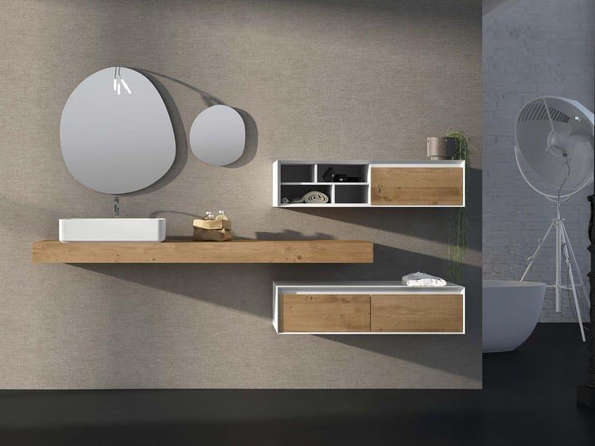 Oak vanity unit LU.45 by Mobiltesino