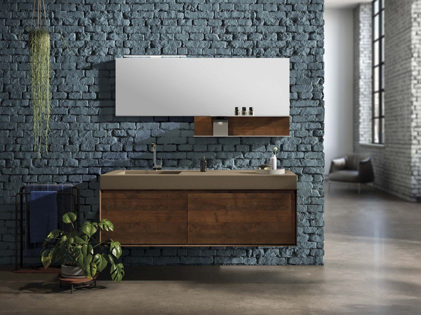 Wall-mounted oak vanity unit LU.46 by Mobiltesino