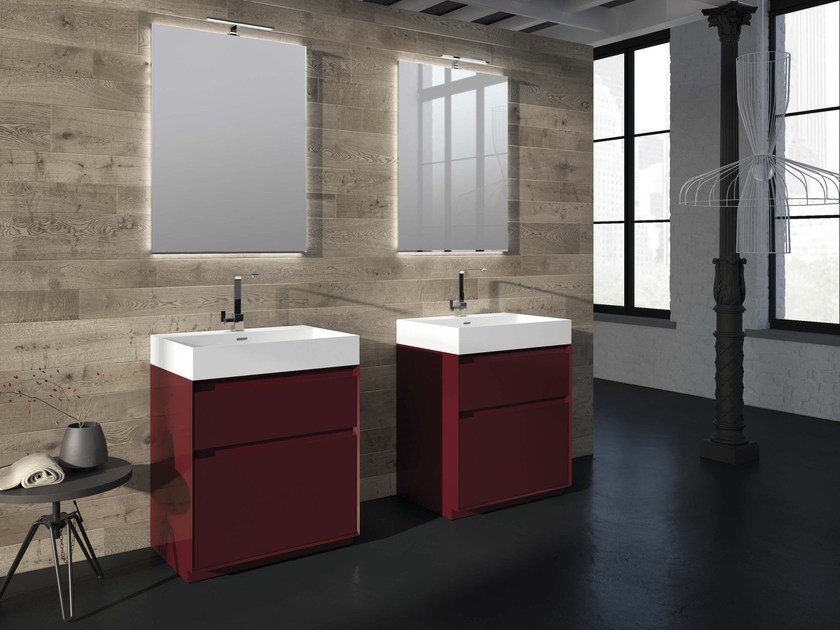 Lacquered vanity unit LU.49 by Mobiltesino