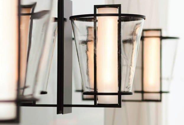 Applique a luce diretta in acciaio e vetro lu kevin reilly collection