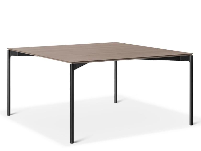 Rectangular aluminium and wood table LUCE by Lema