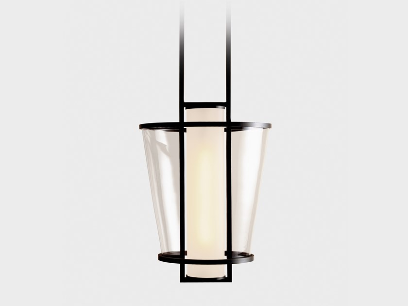 Direct light glass and steel pendant lamp LUCERNE by Kevin Reilly Collection
