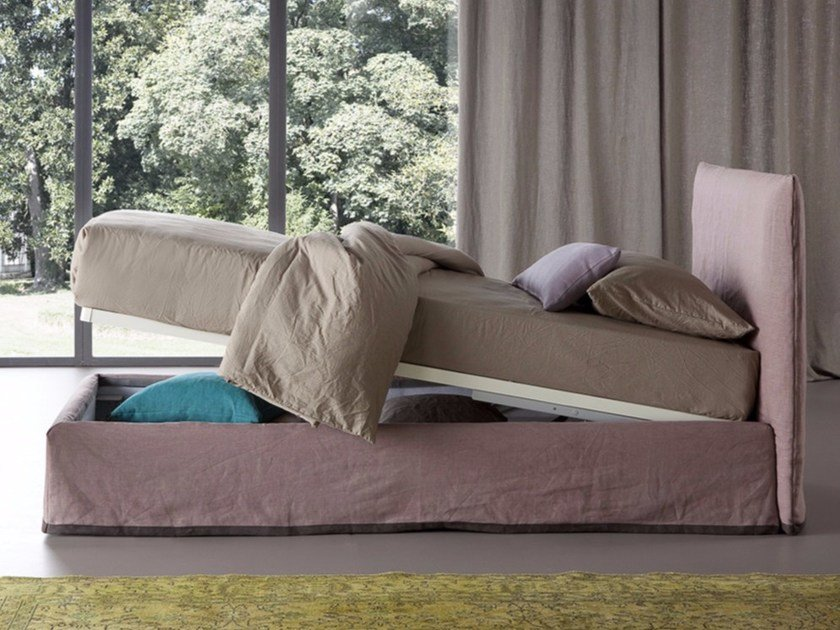 Linen storage bed with removable cover LUCREZIA | Single bed by Chaarme Letti