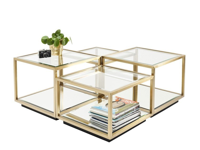 Modular Glass and Stainless Steel coffee table LUIGI GOLD   Coffee table by KARE-DESIGN
