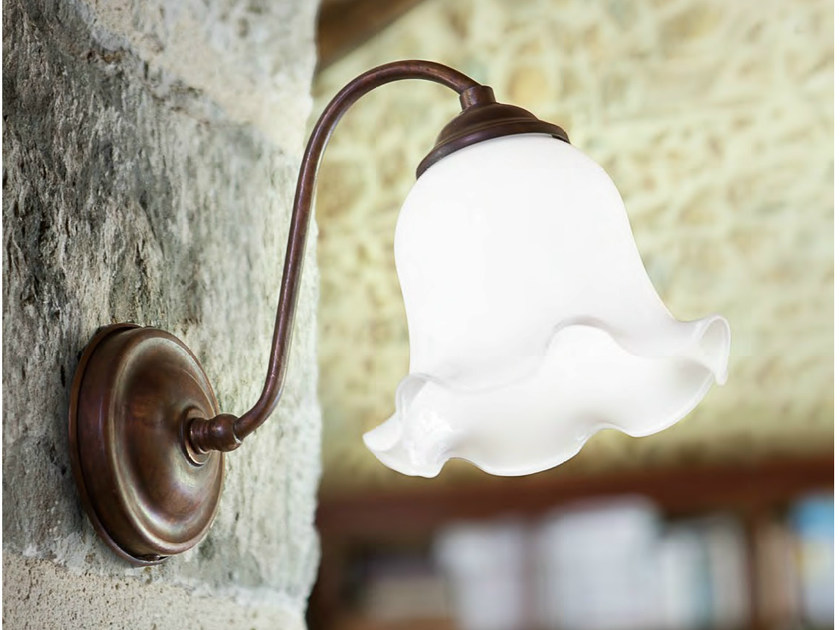 Glass wall lamp with fixed arm LUISA MILLER | Wall lamp by Aldo Bernardi