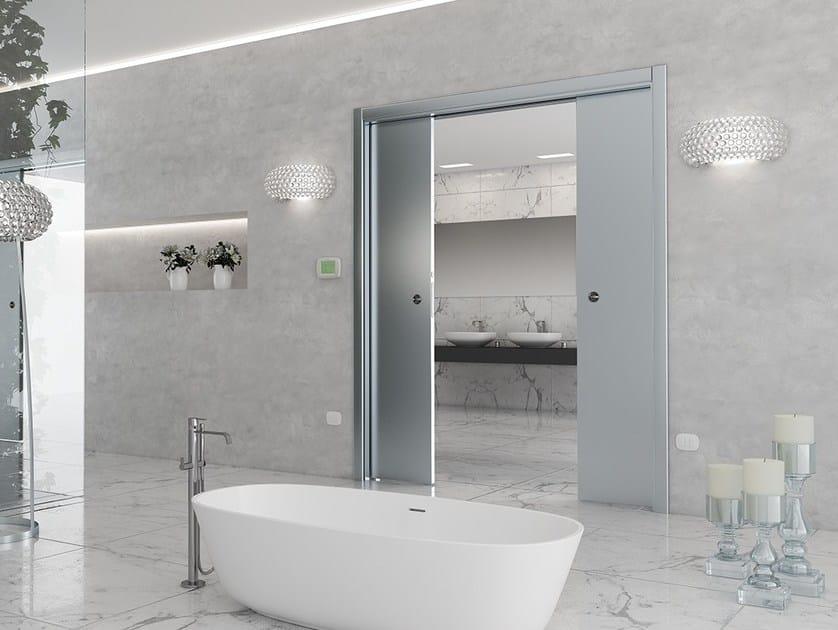 Double counter frame for vanishing sliding door LUMINOX DOUBLE DOOR by Ermetika