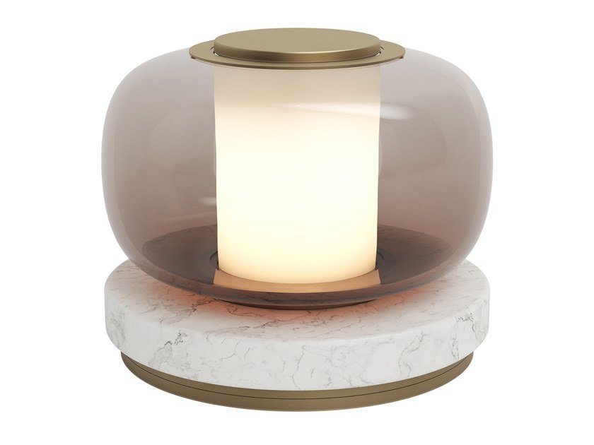 Blown glass table lamp with dimmer LUNA A by GABRIEL SCOTT