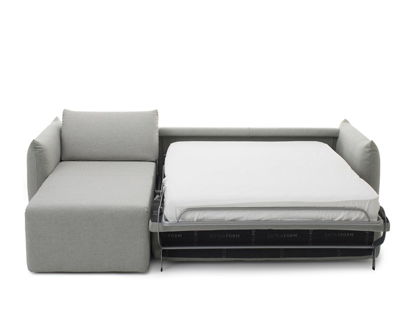 Fabric sofa bed with chaise longue LUNA | Sofa bed with chaise longue by Extraform