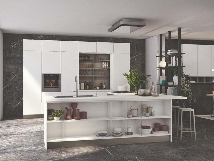 Lacquered wood veneer kitchen with island LUNA | Kitchen with island by Cucine Lube