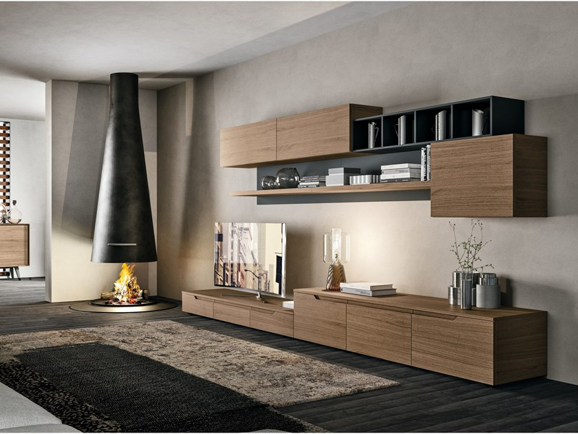 Sectional storage wall LUNA LIVING by Cucine Lube