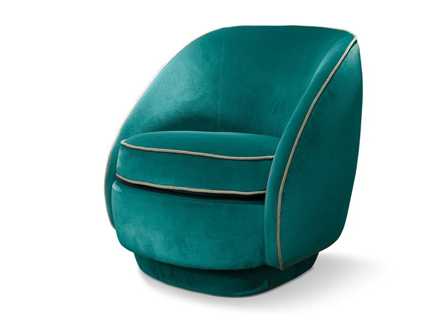 Fabric easy chair with armrests LUNA by SOFTHOUSE
