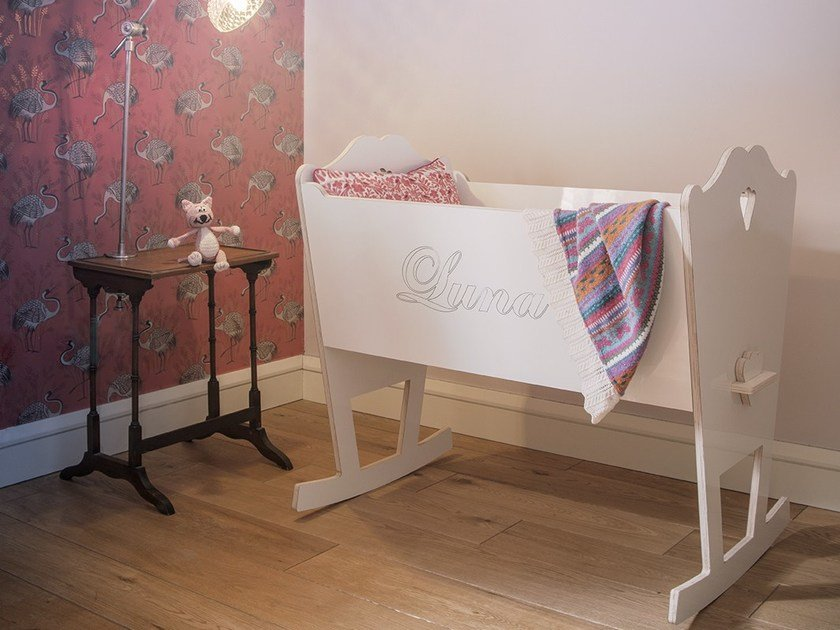 Lacquered rocking plywood cradle LUNA by ST FURNITURE
