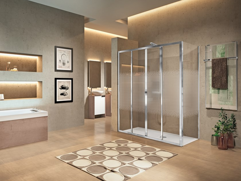 Corner shower cabin with sliding door LUNES 2.0 2A by NOVELLINI