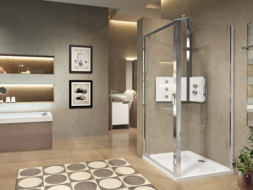Corner shower cabin with hinged door LUNES 2.0 F by NOVELLINI