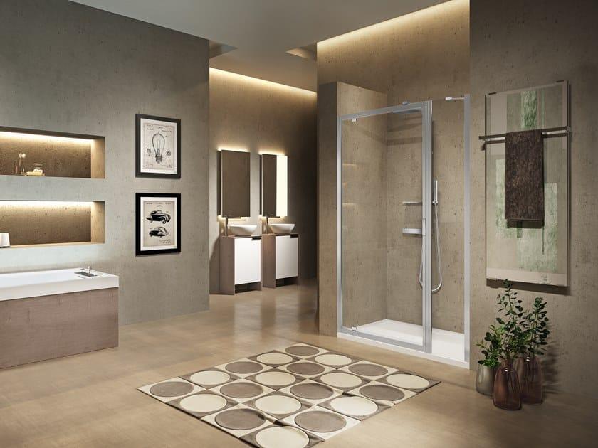 Box doccia a nicchia con porta pivotante LUNES 2.0 G+F IN LINEA by NOVELLINI