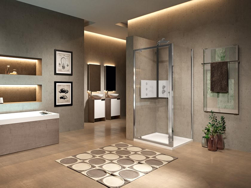 Niche shower cabin with in/out hinged door LUNES 2.0 G by NOVELLINI