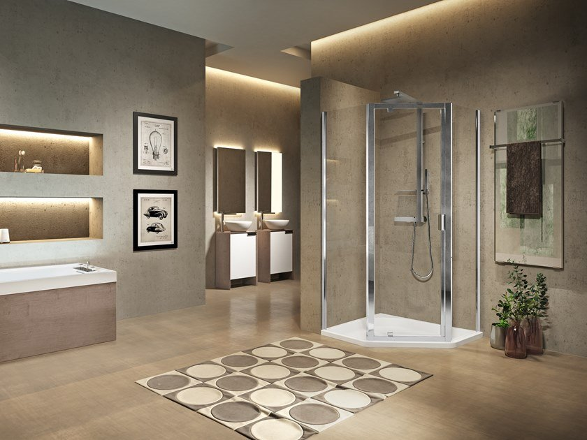 Corner shower cabin with hinged door LUNES 2.0 PENTAGONO G by NOVELLINI