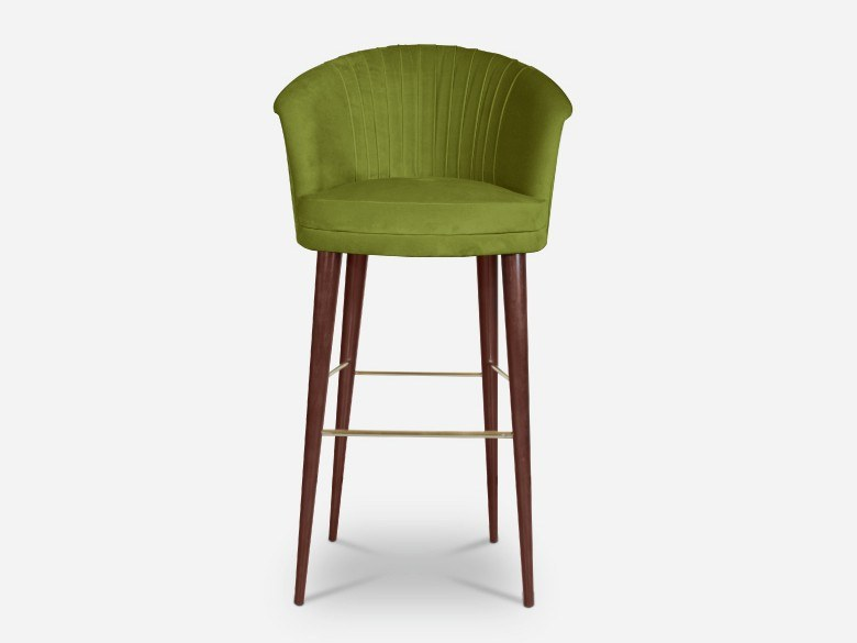 Velvet barstool with back LUPINO | Stool with back by Ottiu