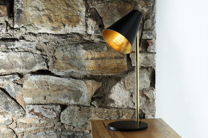Contemporary style direct-indirect light handmade LED brass table lamp LUSAKA TABLE LAMP | Table lamp by Mullan Lighting
