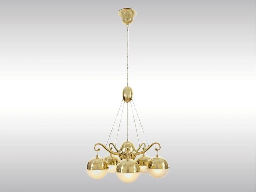 Brass chandelier LUSTER 5-ARMIG by Woka Lamps Vienna