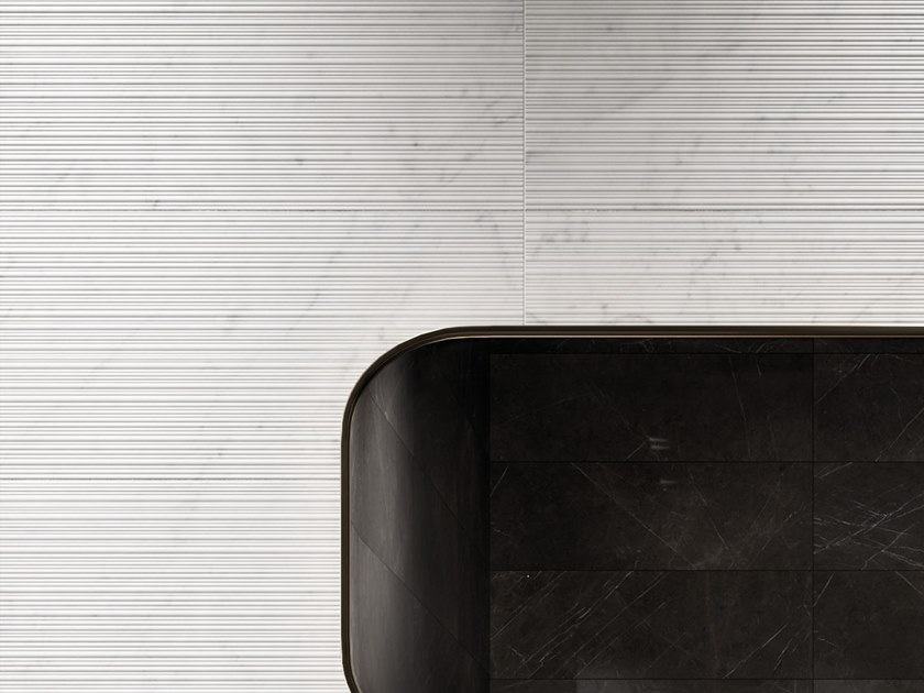 White-paste 3D Wall Cladding LUX EXPERIENCE WALL RIBBED STATUARIETTO by Impronta Ceramiche