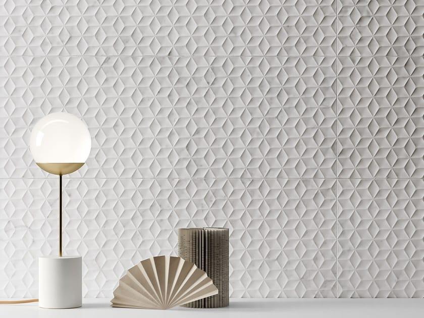 White-paste 3D Wall Cladding LUX EXPERIENCE WALL ROMBO STATUARIETTO by Impronta Ceramiche