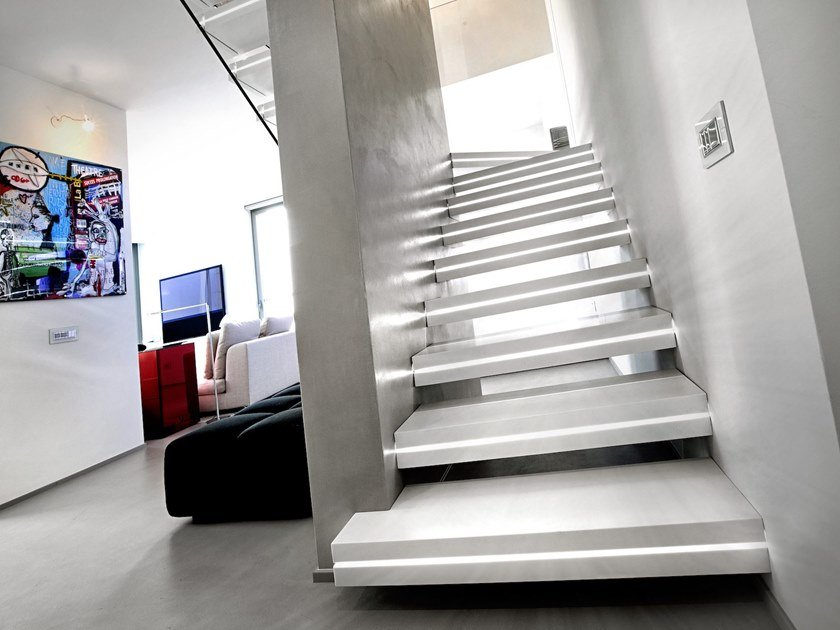 Corian® Open staircase LUXO SURFACE by Officine Sandrini