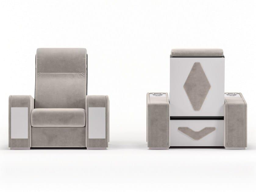 Leather Cinema armchair with adjustable backrest LUXOR by Vismara Design