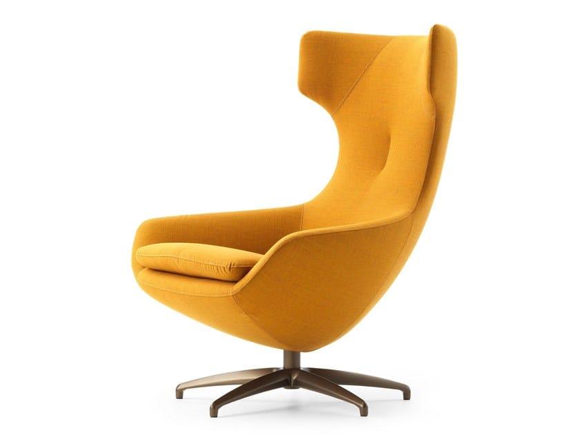 Swivel high-back fabric armchair with 5-spoke base LX662 | Fabric armchair by LEOLUX LX