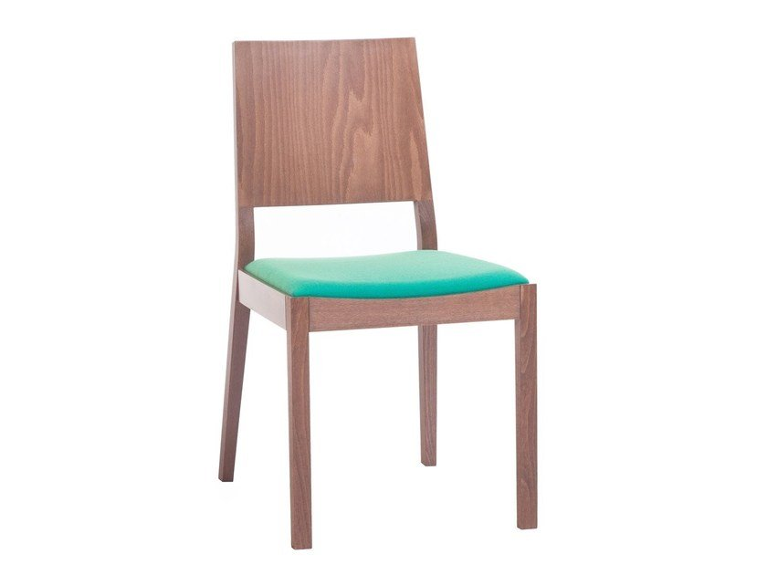 Stackable wooden chair LYON 514 | Chair with integrated cushion by TON
