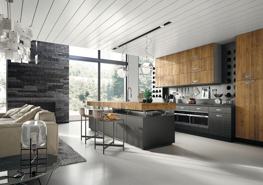 Contemporary Style Fitted Kitchen With Island With Handles Lab 40 Composizione 3 By Marchi Cucine