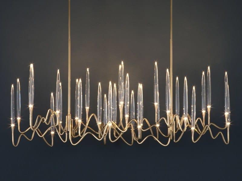 LED brass pendant lamp IL PEZZO 3 | Long Chandelier by Il Pezzo Mancante