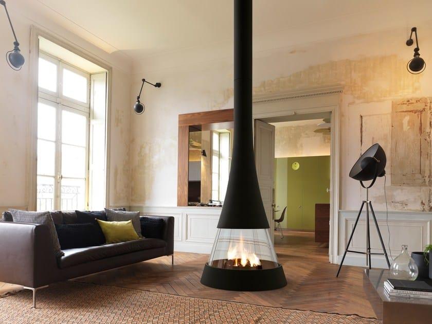 Caminetto centrale curvo con vetro panoramico LINEA 914 by JC Bordelet