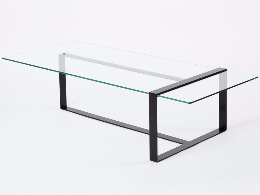 Low Rectangular Glass And Steel Coffee Table SÉVERIN | Low Coffee Table By Alex  De Rouvray