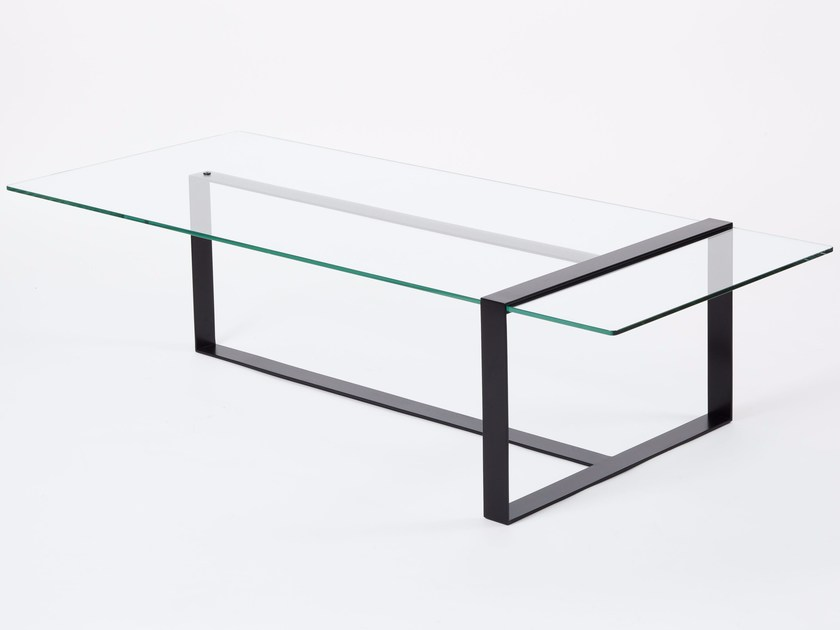 Low rectangular glass and steel coffee table for living room SÉVERIN | Low coffee table by Alex de Rouvray