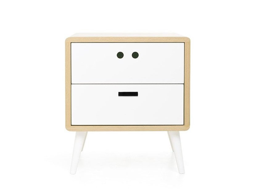 Wood veneer bedside table with drawers MÁRIO by DAM