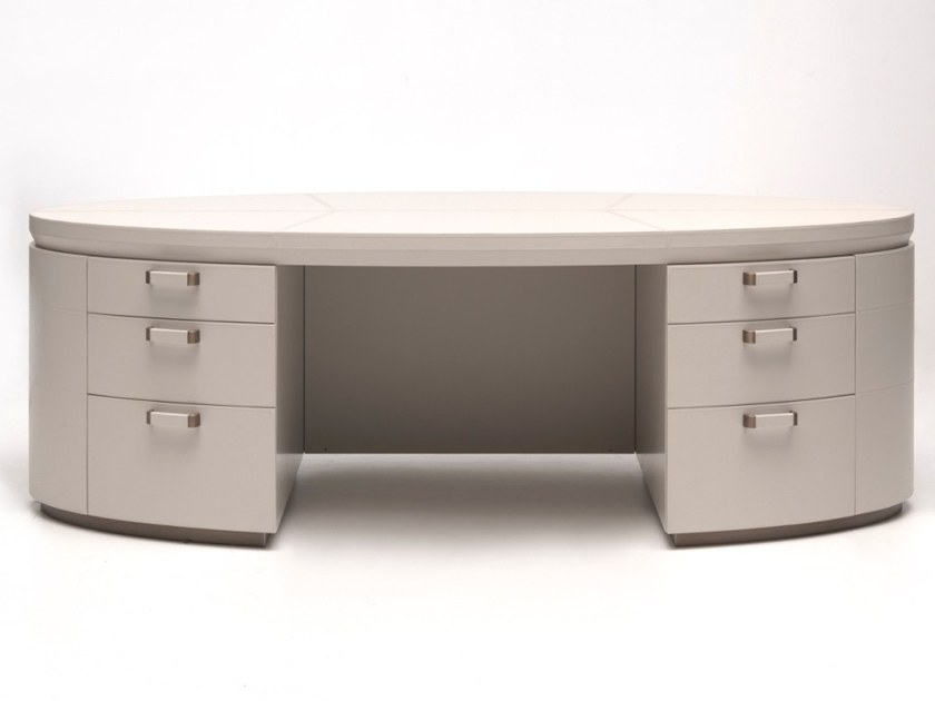 Leather writing desk with drawers M 1625 | Writing desk by Annibale Colombo