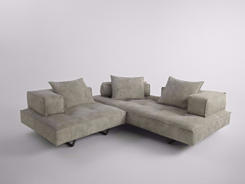 Sled base corner sectional Nabuk sofa M1 | Corner sofa by ALBEDO
