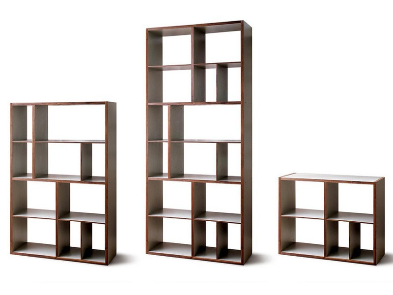 Open double-sided lacquered wooden bookcase M7770 by MINT FACTORY