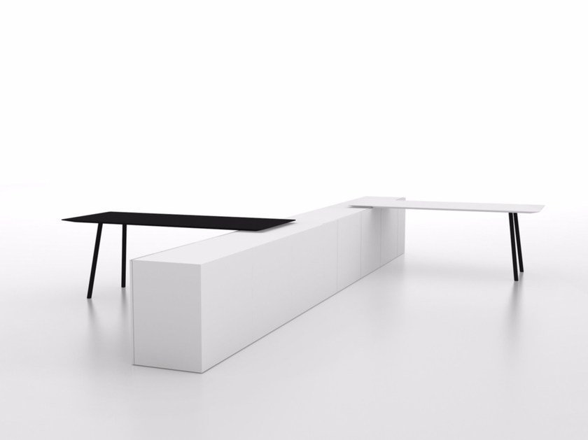 Contemporary style rectangular wood-product peninsula table MAARTEN | Peninsula table by Viccarbe