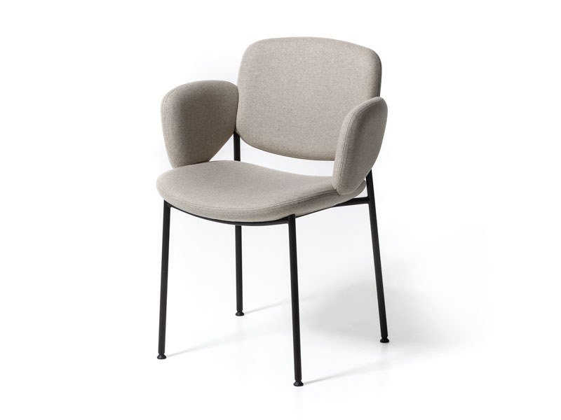 Upholstered fabric chair with armrests MACKA | Fabric chair by arrmet